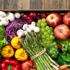 box of fruit and veggies