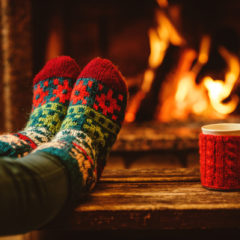warm socks by fire