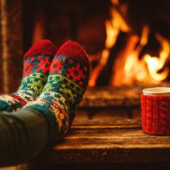 warm socks by fire