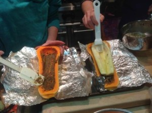 Assembling the stuffed squash