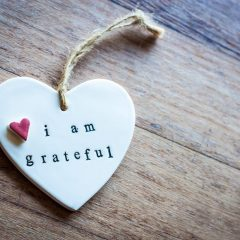 I am grateful heart on wood